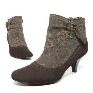 Women's Brown Leather Booties Almond Toe Size 7